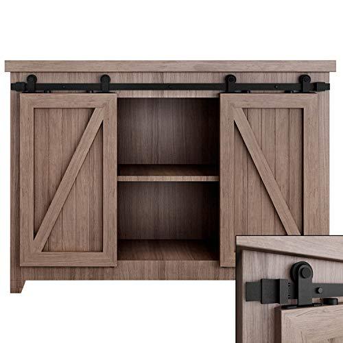 EaseLife 5 FT Super Mini Top Mount Double Door Sliding Barn Door Hardware Track Kit - Sturdy | Easy Install | Slide Smooth Quiet | Apply for Cabinet Window TV Closet | 5FT Track Double Door Kit (Tv Stand 5ft)