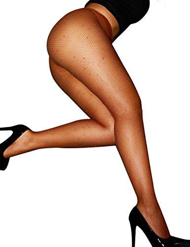 CHRLEISURE Women's Sparkle Rhinestone Fishnets Sexy Tights High Waist Stockings Dark brown -