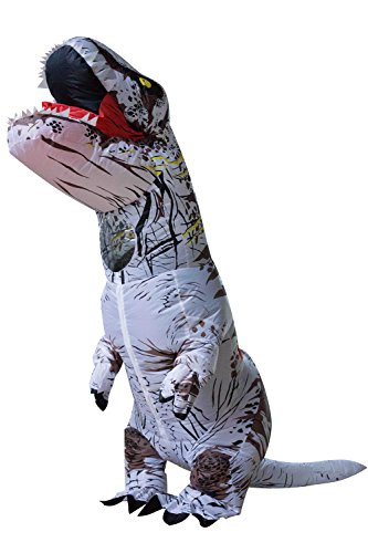 Seasonblow Adult Inflatable T-Rex Dinosaur Halloween Suit Cosplay Fantasy Costume White With Backpack & USB Cable
