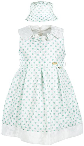 (Lilax Little Girls' Polka Dot Sundress with Hat 2T Green)