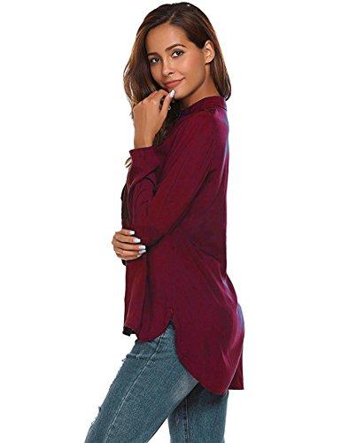 rouge Shirt Chemise V Vin Manches paule Classique Fluide Blouse Longues Bevalsa Chic Casual Femme Top Casual Col pzxRag