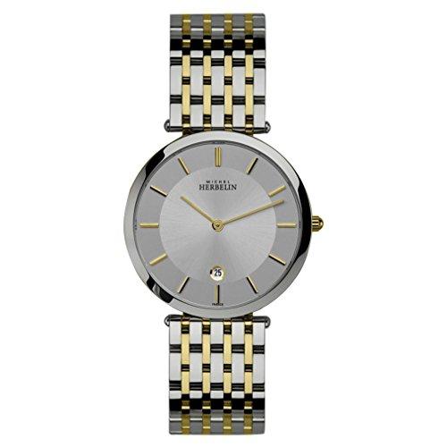 Michel Herbelin Men's Multicolor Two Tone Steel Bracelet Steel Case Quartz Silver-Tone Dial Watch 414/BT12
