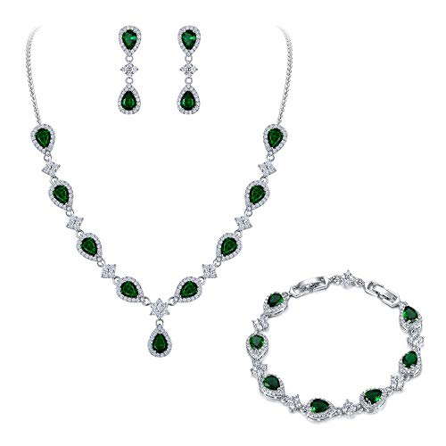 EleQueen Women's Silver-Tone Cubic Zirconia Teardrop Flower Bridal V-Necklace Set Tennis Bracelet Dangle Earrings Emerald Color ()