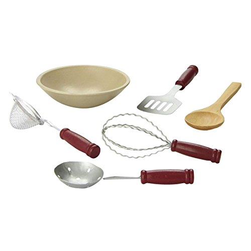 The Queen's Treasures 6 Pc Kitchen Tool Accessory Set for 18 Inch American Girl Doll Furniture: Mixing Bowl Plus 5 Kitchen Utensil Tools