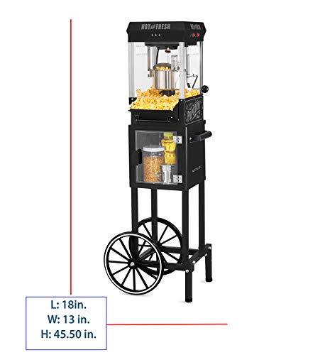 Nostalgia KPM200CTBK Vintage 2.5-Ounce Popcorn Cart with 5-Quart Bowl-45-Inches Tall, 2.5 oz, Black by Nostalgia (Image #1)
