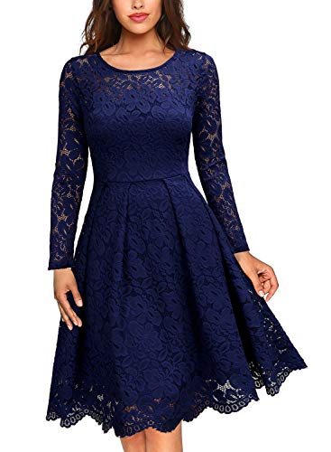 MISSMAY Women's Vintage Floral Lace Scoop Neck Cocktail Party Fit and Flare, Dress, Large Navy Blue