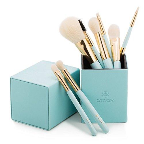 amoore Makeup Brushes Makeup Brush set Makeup Brush with Case Foundation Brush Powder Brush (8 Pcs, Mint Green) (Makeup Brush Set Case)