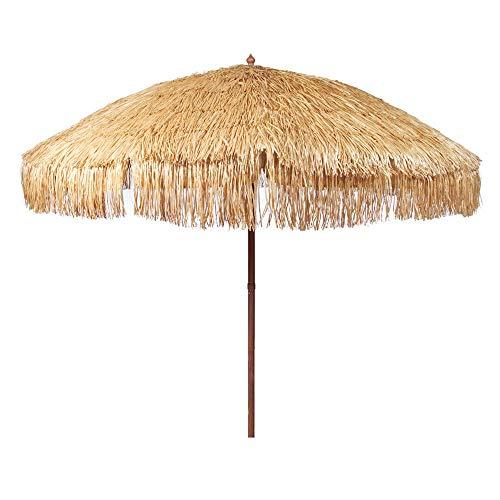 iConcern Sand Anchor 6.5 ft. Hula Thatched Tiki Umbrella Natural Color Hawaiian Style Beach Umbrella, Including Portable Fabric Carry Bag Hula .