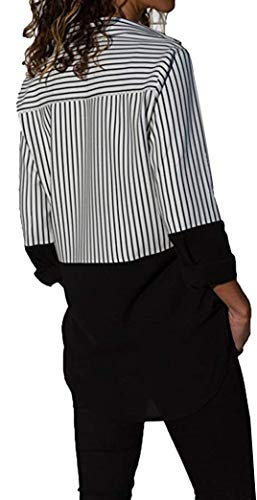 Tunique Bouton T Chemisier Shirt Noir Manches Tops Stripe Block Casual Color Longues Femme Yeesea qFRaY0R