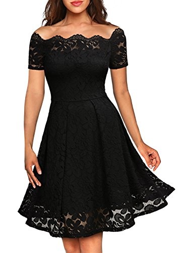 MISSMAY Women's Vintage Floral Lace Short Sleeve Boat Neck Cocktail Party Swing Dress, Medium, Black