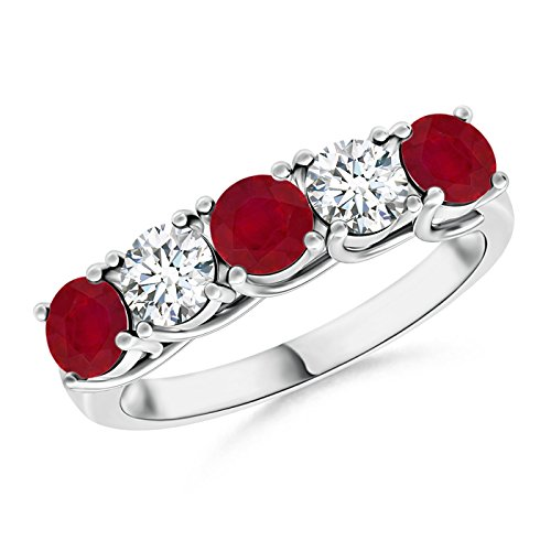 (Half Eternity Five Stone Ruby and Diamond Wedding Band in 14K White Gold (3.8mm Ruby))