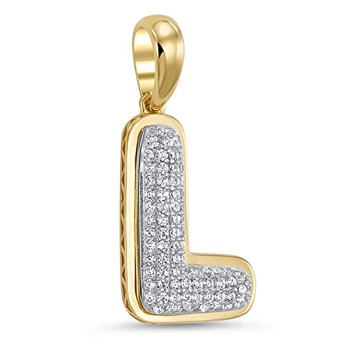 14k Yellow Gold Plated 925 Sterling Silver Cubic Zirconia Bubble Initial Pendant L