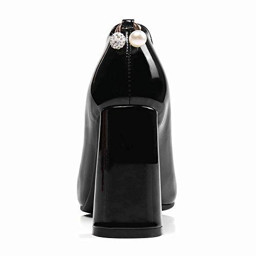MissSaSa Damen High Heel Pointed Toe Lack-Pumps Schwarz