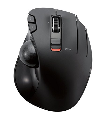 ELECOM M-XT3DRBK Wireless Trackball Mouse, 6-Button with Smooth Tracking Function, Video Gaming Sensor, Black ()