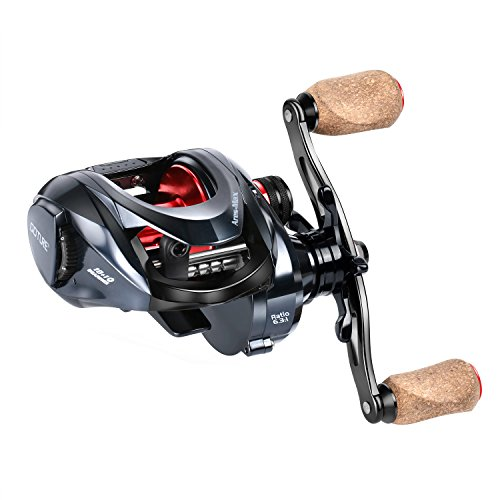 Goture Ares-Max Baitcasting Fishing Reel 22LB Carbon Fiber Drag, 6.3:1 Low Profile Baitcaster Reel with Magnetic Brake System10+1 Shielded Bearings (Left Handle with Cork Knob)