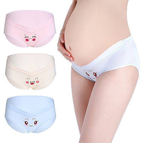 Muledy 3-Pack Women's Under The Bump Cotton Maternity Hipsters Panties