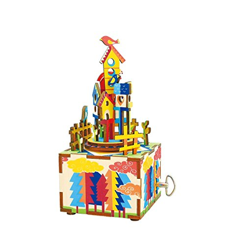 Hands Craft AM307 3D Wooden Puzzle-DIY Hand Crank Music Box-Castle In The Sky Educational Toy- Plays WALTZ OF THE FLOWERS(NUTCRACKER)- Perfect Gift for Christmas, Birthday, Baby Shower, Valentines.