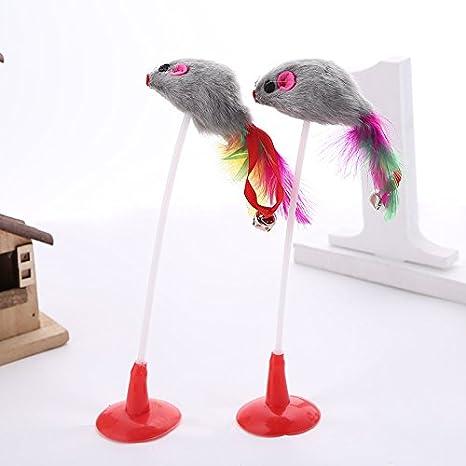 Annedenn Juguetes de Mascotas Juguetes de Ejercicio para Gatos con Campana Juguete de Gato para Gatos Jugar Juguete de Gato Juguete Ratón Sucker Inferior ...
