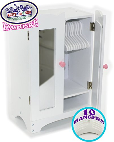 Matty's Toy Stop 18 Inch Doll Furniture White Wooden Armoire Closet with 10 Hangers - Fits American Girl Dolls -