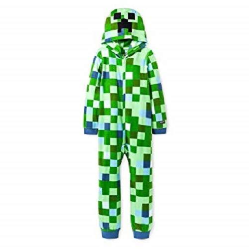 Minecraft Charged Creeper Fleece Hooded One Piece Zip Up Boys Pajamas Medium 8//10