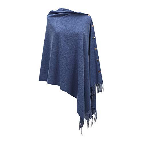 Ritera Vrouwen Knop Gebreide Sjaal Poncho Cape Vest Kasjmier Sweater Sjaal Cape Gebreide Trui Elegante Womens Tops