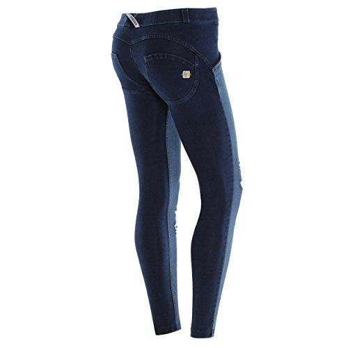 Bajo Delantera True Azul Wr Jeans Scuro costuras Freddy up® Rotos Denim De Extra Con Talle Parte Large Pitillo 8wqFX