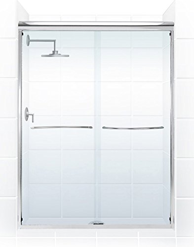 Coastal Shower Doors 2860.71B-C Paragon 1 4 Series Frameless Sliding Shower Door with Radius Curved Towel Bar in Clear Glass 60 x 71 Chrome