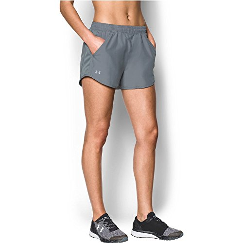 Under Armour Women's Fly-By Shorts,Steel /Reflective, Large