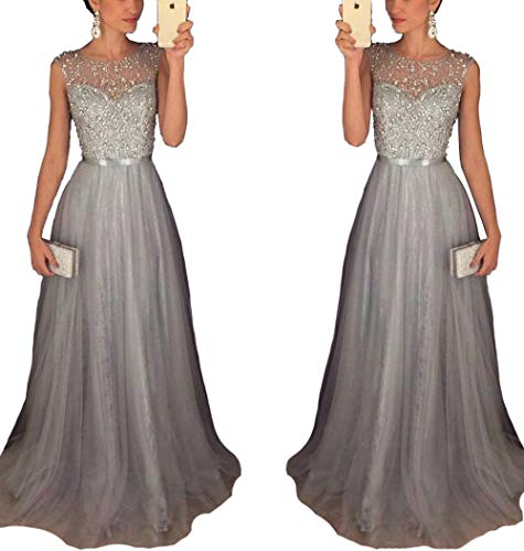 - Half Flower Bridal Sleeveless Tulle A-Line Long Graduation Evening Prom Dress Beaded Sequins Homecoming Party Gowns US8