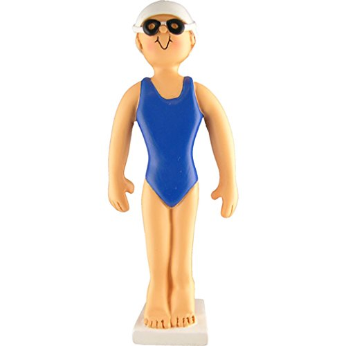Personalized Swimmer Christmas Ornament for Tree 2018 - Woman Athlete Girl Blue Freestyle Starting Block Goggles Cap Olympic Wave - Profession Coach Hobby Instructor - Free Customization by Elves ()