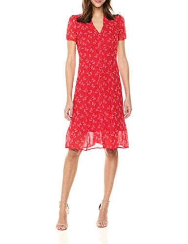 Red The Long Kooples Floral Women's Chiffon Dress xwzB4Y