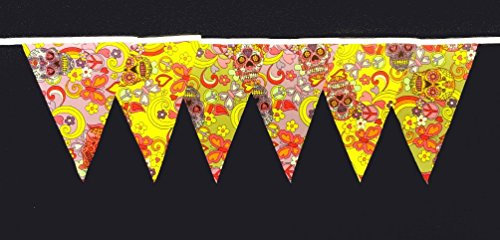 - Another Quality product supplied by klicnow Sugar Skull Design Fabric Bunting 30ft Long (Approx) Hand Made, Vintage Style