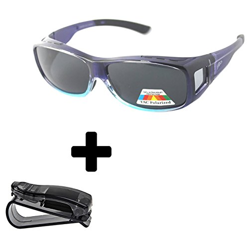 Fit Over Polarized Sunglasses to Wear Over Prescription Glasses + car clip - Wrap Frames Spectacle Around