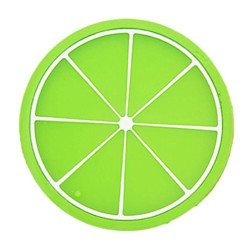 Laimeng, Fruit Coaster Colorful Silicone Cup Drinks Holder Mat Tableware Placemat (green)