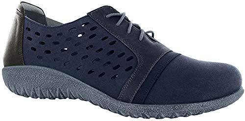 NAOT Footwear Women's Lalo Navy Velvet Nubuck/Ink Lthr/Tin Gray Lthr Lace-up Shoe 11 M US