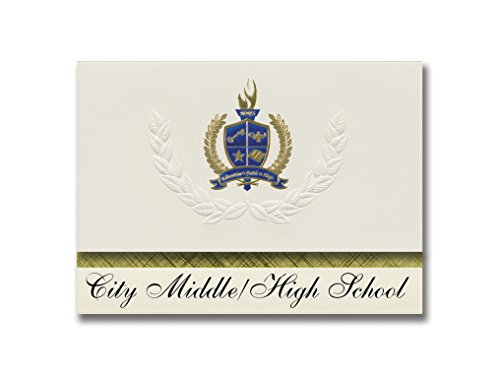 Signature Announcements City Middle/High School (Grand Rapids, MI) Graduation Announcements, Presidential style, Elite package of 25 with Gold & Blue Metallic Foil seal -