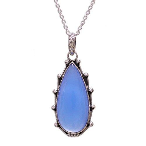 NOVICA Chalcedony .925 Sterling Silver Pendant Necklace, 17.25