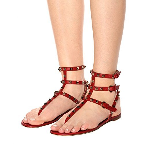 Flats Womens Red Backless 14 Studded Mules Dress Chris 5 Sandals Flops Rivets Strappy T Rockstud Flip Gladiator US Slides Slippers twB5gqx5