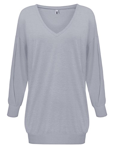 Pullover Longue Blouse Yidarton Tunique Longues Robe V Manches Gris T Casual Sexy Femme Taille Col Grande Shirt BUqBZwv