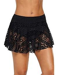 Dona-Brayman Women's Lace Skirted Bikini Bottom Swimsuit Short Skort Swimdress