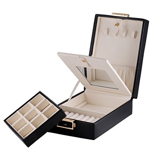 MBLife Laminated Leather Double Layer Mirror Travel Jewelry Box Organizer Black by MBLife (Image #5)