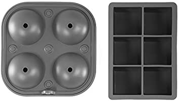 Charcoal 2 inch Big Cubes /& 2.5 inches Large Sphere Ice Mold Set glacio Ice Cube Molds