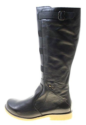 Stiefel Damenschuhe ECHT LEDER Farbe Schwarz mit seitlichem Reißverschluss (42)