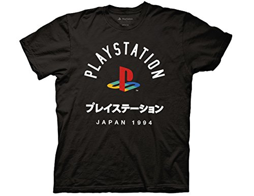 Playstation Adult Unisex Japan 1994 Light Weight 100% Cotton Crew T-Shirt MD Black