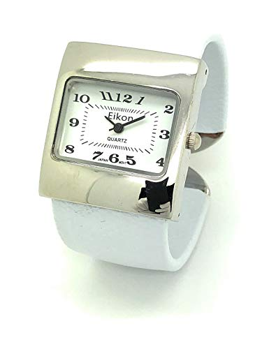 Ladies Snakeskin Leather Bangle Cuff Watch Square Case White Dial Eikon (White)