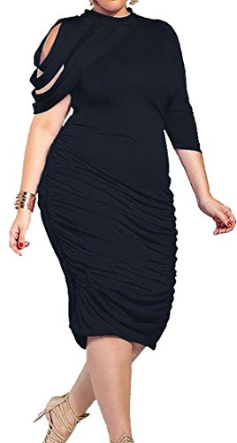 Ruched Sleeve Womens Cromoncent Bodycon Out Half Black Cut Midi Shoulder Dress ZZ7rYq
