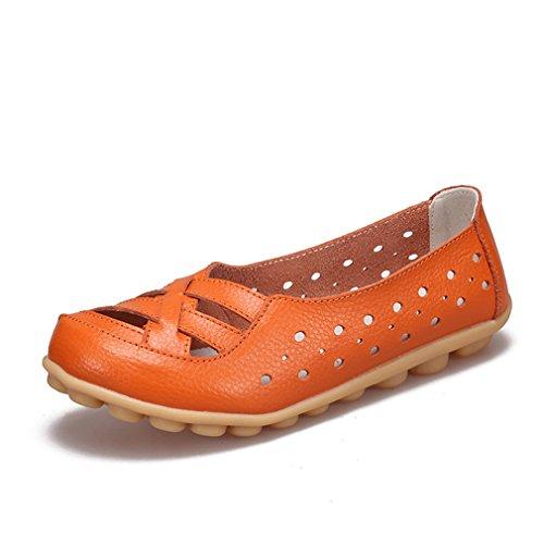 Scarpe On Slip donna Arancione Mocassini vera di da in Ballet da donna Mocassini Scarpe donna Flats Calzature da pelle mucca rwzCrqn80