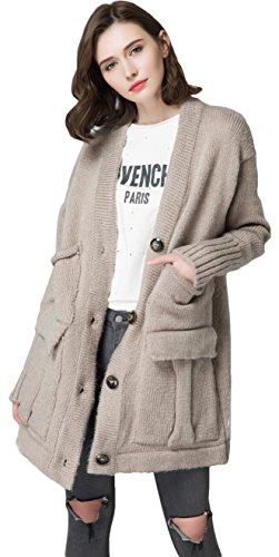 KUBITU Womens Classic Button Down Knit Long Plus Size Cardigan Sweater Coat with Pocket Medium Khaki