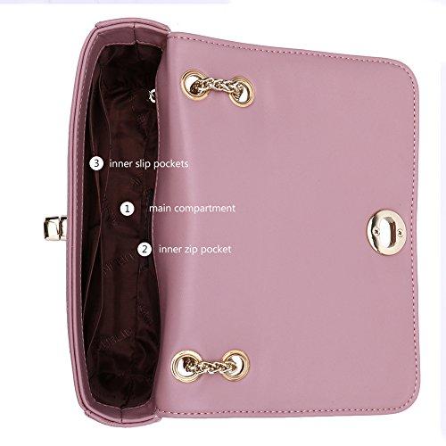 LUBLIN Crossbody Satchel Handbags Women Fashion Leather 2 Pink Purse Bag for ANA Tote Shoulder AqwTq4