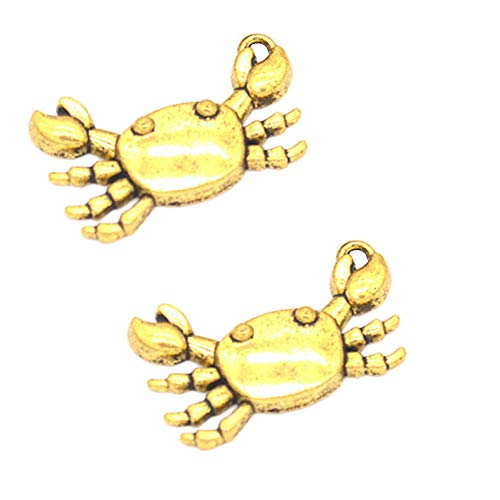 30pcs Vintage Antique Gold Crab Charms Pendant Jewelry Findings for Jewelry Making Necklace Bracelet DIY 24x14mm (30pcs Gold)